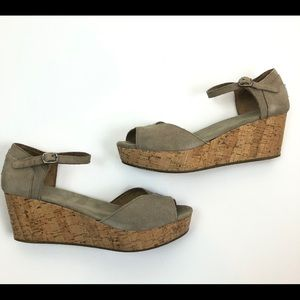 TOMS Taupe Brown Wedge Open Toe Sandals Size 8.5